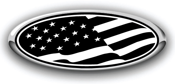 Ford Overlay US Flag Thin Blue Line Logo Overlay Decals 3PC Kit!